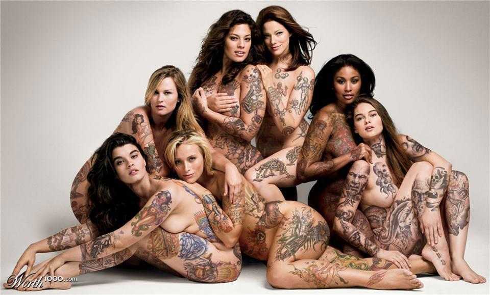 Group of naked girl with tattoo, global sex movies